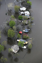 May 3, 2019 - Davenport, Iowa, U.S. - Aerial showing flooding surrounding homes on Campbell's Island Friday. The Mississippi River In Davenport is now higher than the historic 1993 flood.  (Credit Image: © Kevin E. Schmidt/Quad-City Times via ZUMA Wire)