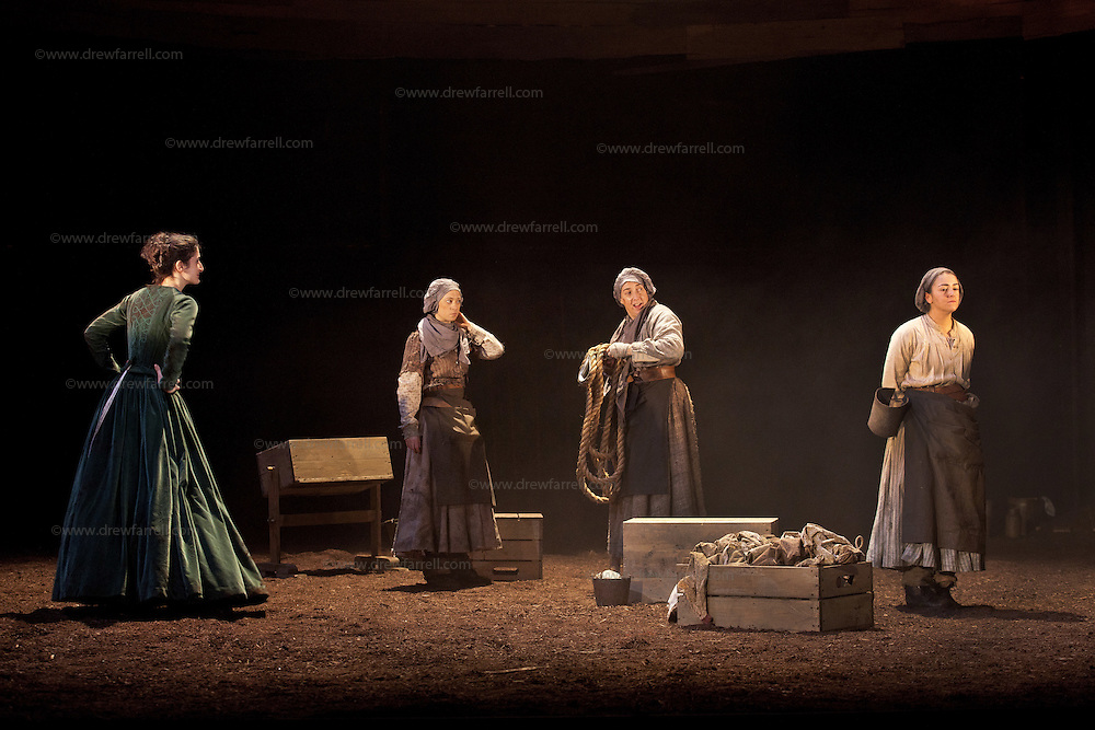 """Picture shows :(l-r)  Cath Whitefield as Tottie , Nora Wardell as Ellen and Wendy Seager as Sara and Jayd Johnson as Liza.<br /> Bondagers <br /> By Sue Glover<br /> Directed by Lu Kemp<br /> """"Redd up the stables, muck out the byre, plant the tatties, howk the tatties, clamp the tatties... Shear, stook, striddle, stack. Women's work.""""<br /> A true classic of modern Scottish Theatre, and a haunting evocation of a lost way of life, Sue Glover's lyrical play with music and song follows six women land workers as they graft and dance their way through a year on a 19th Century Borders farm.<br /> Every ploughman had to provide a woman (a bondager) to work on the farm. If his wife was too busy with family, he hired a woman to work the fields and lodge in his home. Following these womenthrough the passing of the seasons, we feel the rhythm of the land and the harshness, humour, hope and tragedy of those who worked upon it.<br /> Picture : Drew Farrell<br /> Tel : 07721 -735041<br /> www.drewfarrell.com<br /> <br /> <br /> For Further information please contact Michelle Mangan Press and PR Manager, Royal Lyceum Theatre Edinburgh <br /> Main Line: 0131 248 4800