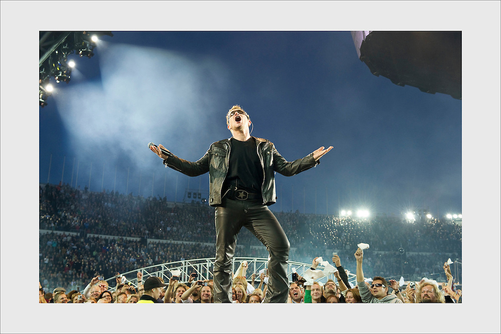 Bono entering the stage. U2. Helsinki Olympic Stadium, August 25, 2010.