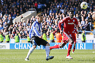 Sheffield Wednesday striker Gary Hooper (14) scores his second goal 3-0 during the Sky Bet Championship match between Sheffield Wednesday and Cardiff City at Hillsborough, Sheffield, England on 30 April 2016. Photo by Ellie Hoad.