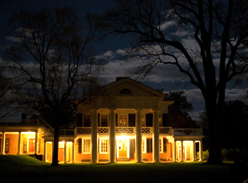 A pavilion on the Lawn of the University of Virginia photographed by moonlight at night.