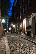 The famous cobbled street Beacon Hill historic district of Boston, Massachusetts at night, USA