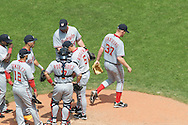 Stephen Strasburg of the Washington Nationals walks off the mound after being lifted from the game in the sixth inning against the Cleveland Indians on June 13, 2010 at Progressive Field in Cleveland.