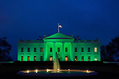 March 17, 2021 (DC): White House Lit Up In Green For St. Patrick's Day
