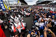 June 10-16, 2019: 24 hours of Le Mans. 7 TOYOTA GAZOO RACING, TOYOTA TS050 - HYBRID,  Mike CONWAY, Kamui KOBAYASHI, Jose Maria LOPEZ, 8 TOYOTA GAZOO RACING, TOYOTA TS050 - HYBRID, Sébastien BUEMI, Kazuki NAKAJIMA, Fernando ALONSO Grid for the Le Mans 24h