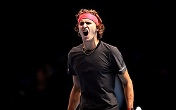 Alexander Zverev celebrates winning first set during the men's singles match during day six of the Nitto ATP Finals at The O2 Arena, London.