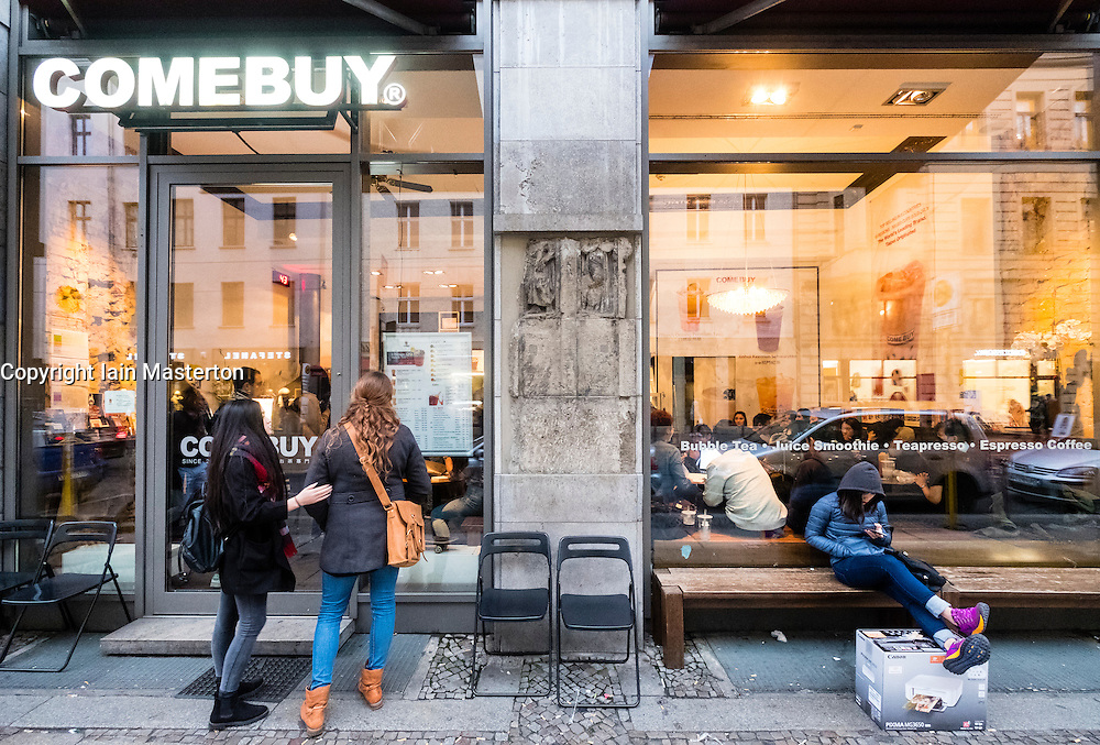 Exterior of trendy Comebuy bubble tea cafe in Mitte Berlin
