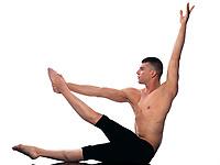 caucasian man gymnastic aerobic posture isolated studio on white background