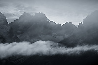 Clouds lifting off the rugged summit of Trono Blanco in Torres del Paine, Chile  Black & White