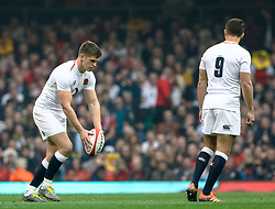 Owen Farrell of England<br /> <br /> Photographer Simon King/Replay Images<br /> <br /> Six Nations Round 3 - Wales v England - Saturday 23rd February 2019 - Principality Stadium - Cardiff<br /> <br /> World Copyright © Replay Images . All rights reserved. info@replayimages.co.uk - http://replayimages.co.uk