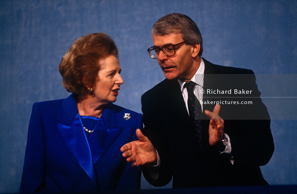 Ex-British Prime Minister Margaret Thatcher with current premier  John Major at the 1991 Tory party conference.
