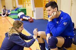 Tjasa Mlakar and Alen Sket during training camp of Slovenian Volleyball Men Team 1 month before FIVB Volleyball World League tournament in Ljubljana, on May 5, 2016 in Arena Vitranc, Kranjska Gora, Slovenia. Photo by Vid Ponikvar / Sportida