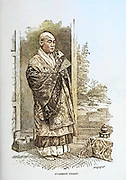 Machine colorized Buddhist Priest from the book ' Rambles in Japan : the land of the rising sun ' by Tristram, H. B. (Henry Baker), 1822-1906. Publication date 1895. Publisher New York : Revell