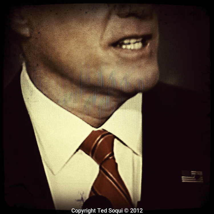 TV images of the first Presidential debate between Mitt Romney and President Barack Obama. The images were taken from a flat screen TV set by a iPhone4 camera with the Hipsatmatic app.