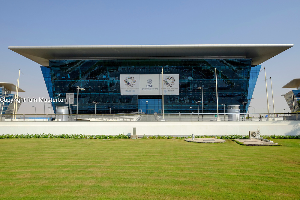 Modern office buildings at Dubai World Central logistics hub in Jebel Ali Dubai United Arab Emirates