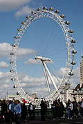 London Eye wheel from Westminster Bridge, London, England