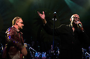MC Prince Miller introduces Bono and U2 in perform at the Island 50 concerts Hammersmith Empire - London 2009