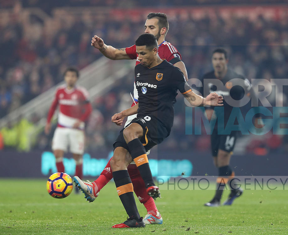 Curtis Davies of Hull City stopping Alvaro Negredo of Middlesbrough getting to the ball during the English Premier League match at Riverside Stadium, Middlesbrough. Picture date: December 5th, 2016. Pic Jamie Tyerman/Sportimage