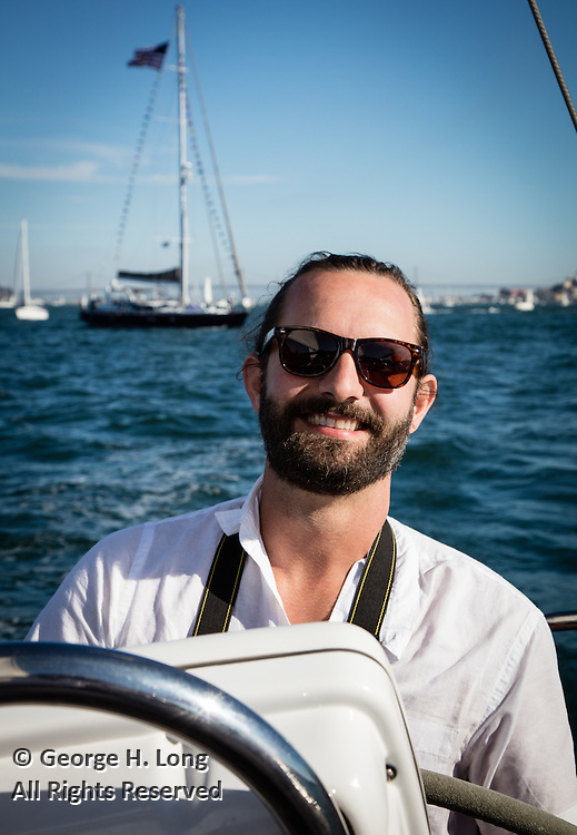 David Glover at the helm of Prime Number in San Francisco Bay