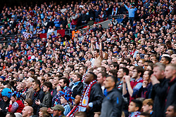 Supporters celebrate as Aston Villa close in on winning the match 2-1 to reach the 2015 FA Cup Final - Photo mandatory by-line: Rogan Thomson/JMP - 07966 386802 - 19/04/2015 - SPORT - FOOTBALL - London, England - Wembley Stadium - Aston Villa v Liverpool - FA Cup Semi Final.
