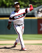CHICAGO - JUNE 02:  Aaron Bummer #39 of the Chicago White Sox pitches against the Cleveland Indians on June 2, 2019 at Guaranteed Rate Field in Chicago, Illinois.  (Photo by Ron Vesely)  Subject:  Aaron Bummer