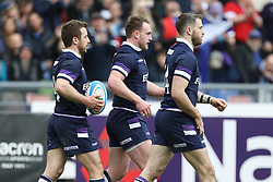 March 17, 2018 - Rome, RM, Italy - Stuart Hogg of Scotland celebrate the scoring during the Six Nations 2018 match between Italy and Scotland at Olympic Stadium on March 17, 2018 in Rome, Italy. (Credit Image: © Danilo Di Giovanni/NurPhoto via ZUMA Press)