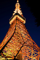 Tokyo Tower is a communications and observation tower located in Shiba Park, Tokyo, with a remarkable likeness to the Eiffel Tower in Paris. At 332 metres (1000 ft), it is the tallest self supporting steel structure in the world and the tallest artificial structure in Japan.  Built in 1958, the tower's main sources of revenue are tourism and broadcast antenna leasing.