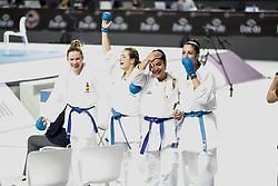 November 10, 2018 - Madrid, Madrid, Spain - Laura Palacio, Maria Torres,  Cristina Vizcaino and Cristina Ferrer of Spain celebrates the victory and the bronce medal and the third place of Female Kumite for Team tournament during the Finals of Karate World Championship celebrates in Wizink Center, Madrid, Spain, on November 10th, 2018. (Credit Image: © AFP7 via ZUMA Wire)