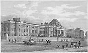 New Bethel Hospital, Saint George's Fields, engraving from 'Metropolitan Improvements, or London in the Nineteenth Century' London, England, UK 1828 , drawn by Thomas H Shepherd