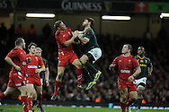 Rhys Priestland of Wales jumps for a high ball with South Africa's Willie Le Roux. Autumn International rugby, 2013 Dove men series, Wales v South Africa at the Millennium Stadium in Cardiff,  South Wales on Saturday 9th November 2013. pic by Andrew Orchard, Andrew Orchard sports photography,