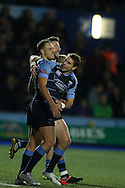 Cory Allen of Cardiff Blues (l) celebrates with his teammates after he scores his 1st try of the match. European rugby challenge cup match, pool 4, Cardiff Blues v Pau at the BT Sport Cardiff Arms Park in Cardiff, South Wales on Friday 21st October 2016.<br /> pic by Andrew Orchard, Andrew Orchard sports photography.