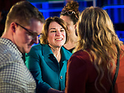 01 FEBRUARY 2020 - DES MOINES, IOWA: US Senator AMY KLOBUCHAR talks to supporters at the end of a campaign event in Des Moines. Sen. Klobuchar campaigned to support her candidacy for the US Presidency Saturday in Iowa. She is trying to capitalize on her recent uptick in national polls. Iowa holds the first selection event of the presidential election cycle. The Iowa Caucuses are Feb. 3, 2020.            PHOTO BY JACK KURTZ