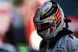Lewis Hamilton (GBR) Mercedes AMG F1 in qualifying parc ferme.<br /> 29.10.2016. Formula 1 World Championship, Rd 19, Mexican Grand Prix, Mexico City, Mexico, Qualifying Day.<br />  Copyright: Price / XPB Images / action press