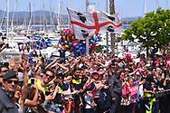 Start, Peloton, Alghero City, Fans, Public, Sardegna Flag, during the 100th Tour of Italy 2017, Giro d'Italia, Stage 1, Alghero - Olbia (206km), on May 5, in Sardegna, Italy - Photo Tim De Waele / ProSportsImages / DPPI