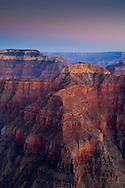 Evening light over red rock cliffs along the North Rim at Point Sublime, Grand Canyon National Park, Arizona