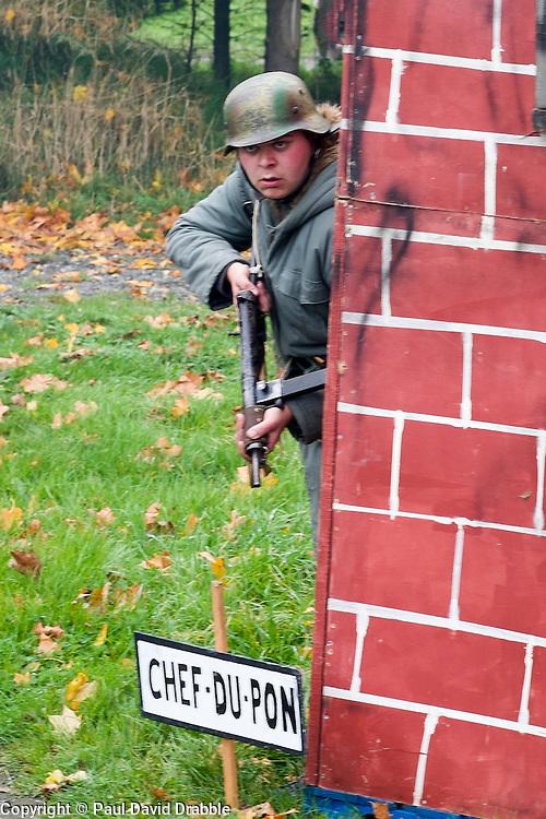 A Re-enactor portrayiing a German infantryman during a battle battle re-enactment in on Pickering Showground<br /> <br /> 17/18 October 2015<br />  Image © Paul David Drabble <br />  www.pauldaviddrabble.co.uk