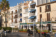 Traditional Catalan architecture buildings by the sea front. Sitges, Catalonia, Spain