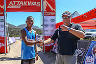 Ettienne Plaatjies poses with Dryland Event Management's Carel Herholdt after winning the 2016 Fairview Attakwas Trail on the 17th of December 2016. Photo by: Oakpics.com/Attakwas Trail/SPORTZPICS {dem16gst}