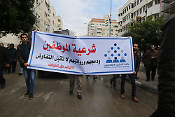 January 2, 2018 - Gaza, Palestinian Territories, Palestine - A march in support of the rights of Palestinian employees, hired by the former Hamas government in Gaza, demanding their rights and integration with the employees of the new government of Hamdallah 2-1-2018  (Credit Image: © Momen Faiz/NurPhoto via ZUMA Press)