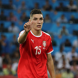 June 27, 2018 - Moscow, Russia - June 27, 2018, Russia, Moscow, FIFA World Cup 2018, First round, Group D, Third round. Football match Serbia - Brazil at the stadium of Spartak. Player of the national team Nikola Milenkovic. (Credit Image: © Russian Look via ZUMA Wire)
