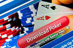 Detail of screen shot of Poker game from website of  online casino gambling company