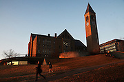 The Cornell University campus, Wednesday, April 2, 2014. McGraw Tower and Uris Library are seen in the background. McGraw Tower is probably the most iconic structure on Cornell University's campus - the tower's 21 bells ring out in three concerts a day played by student chimesmasters. <br /> (Heather Ainsworth for The New York Times)