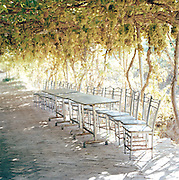 Tables and chairs underneath grape vines, Silk Route, Turpan, Xinjiang Province, China.
