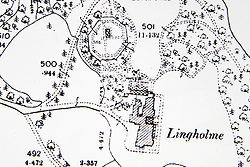 © London News Pictures. Pictured - An Ordnance survey map from the 1890's showing the site of the original Octagonal walled garden sketched by Beatrix Potter. Previously unseen pictures of Beatrix potter with her family have been unearthed during the purchase and restoration of the Lingholm Estate, the Potter family holiday home, where Beatrix potter drew inspiration for many of her most famous characters. Famous books such as Peter Rabbit and Squirrel Nutkin were inspired by the surroundings of the Cumbria estate, which is being opened to the public for the first time. Photo credit: Andrew McCaren/LNP WORDS AVAILABLE HERE http://tinyurl.com/oyb7url