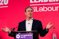 © Licensed to London News Pictures. 16/02/2020. London, UK. Labour leadership candidate KEIR STARMER MP for Holborn and St Pancras and Shadow Secretary of State for Exiting the European Union speaks at a hustings event hosted by the Co-operative Party held at Business Design Centre, north London. Photo credit: Dinendra Haria/LNP