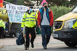 © Licensed to London News Pictures. 05/09/2020. Knowsley, UK. Arrests made as extinction Rebellion block the road in Knowsley, Liverpool to prevent papers going to print at a News Corp plant. Photo credit: Kerry Elsworth/LNP