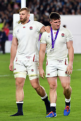 England's George Kruis with Tom Curry after their 32-12 defeat in the 2019 Rugby World Cup final match against South Africa at Yokohama Stadium.