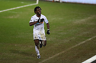 Wilfried Bony of Swansea city ® celebrates after he  scores his teams 2nd goal. The Emirates FA Cup, 3rd round replay match, Swansea city v Wolverhampton Wanderers at the Liberty Stadium in Swansea, South Wales on Wednesday 17th January 2018.<br /> pic by  Andrew Orchard, Andrew Orchard sports photography.