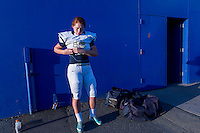 Elk Grove Thundering Herd's kicker, Hunter Petracek (13), gets ready outside the locker room as the boys on her team get ready inside before the game as the Grant Pacers host the Elk Grove Thundering Herd, Friday October 2, 2015.<br /> Brian Baer/Special to the Bee