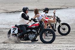 Bob Tramontin kicks up some sand on his Harley-Davidson flathead at TROG (The Race Of Gentlemen). Wildwood, NJ. USA. Saturday June 9, 2018. Photography ©2018 Michael Lichter.